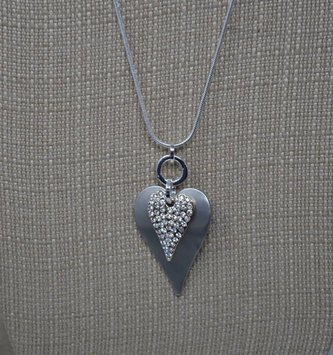 Double Heart Rhinestone Necklace