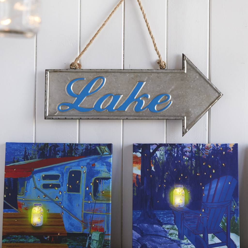 Metal Lake Arrow Sign
