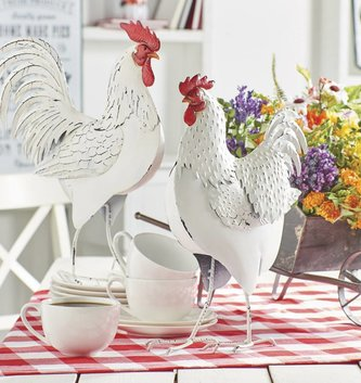 White Metal Rooster & Hen Set