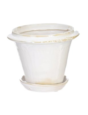 White Ceramic Pot w/ Saucer (2 Sizes)