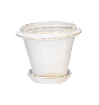 White Ceramic Pot with Saucer (2 Sizes)