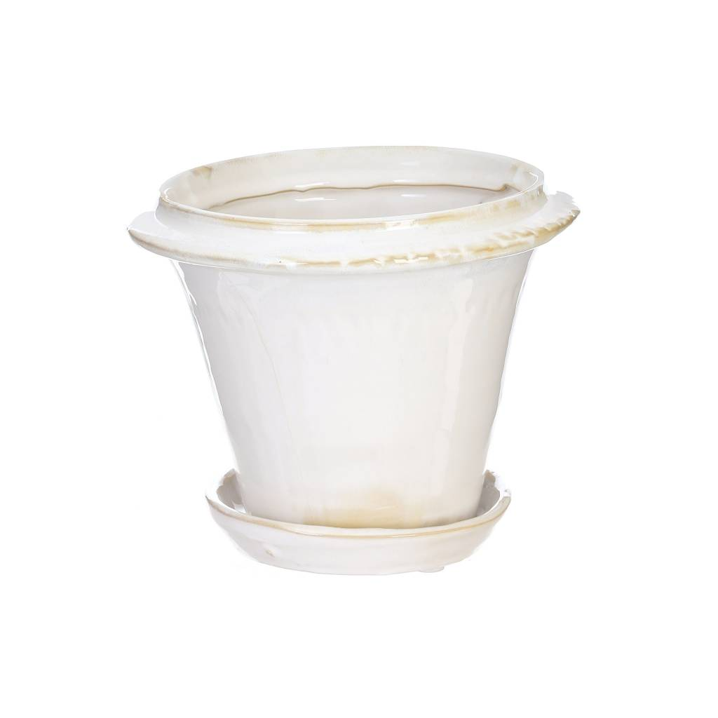 White Ceramic Pot w/ Saucer (2 Sizes)