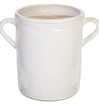 "11"" White Ceramic Handled Container"