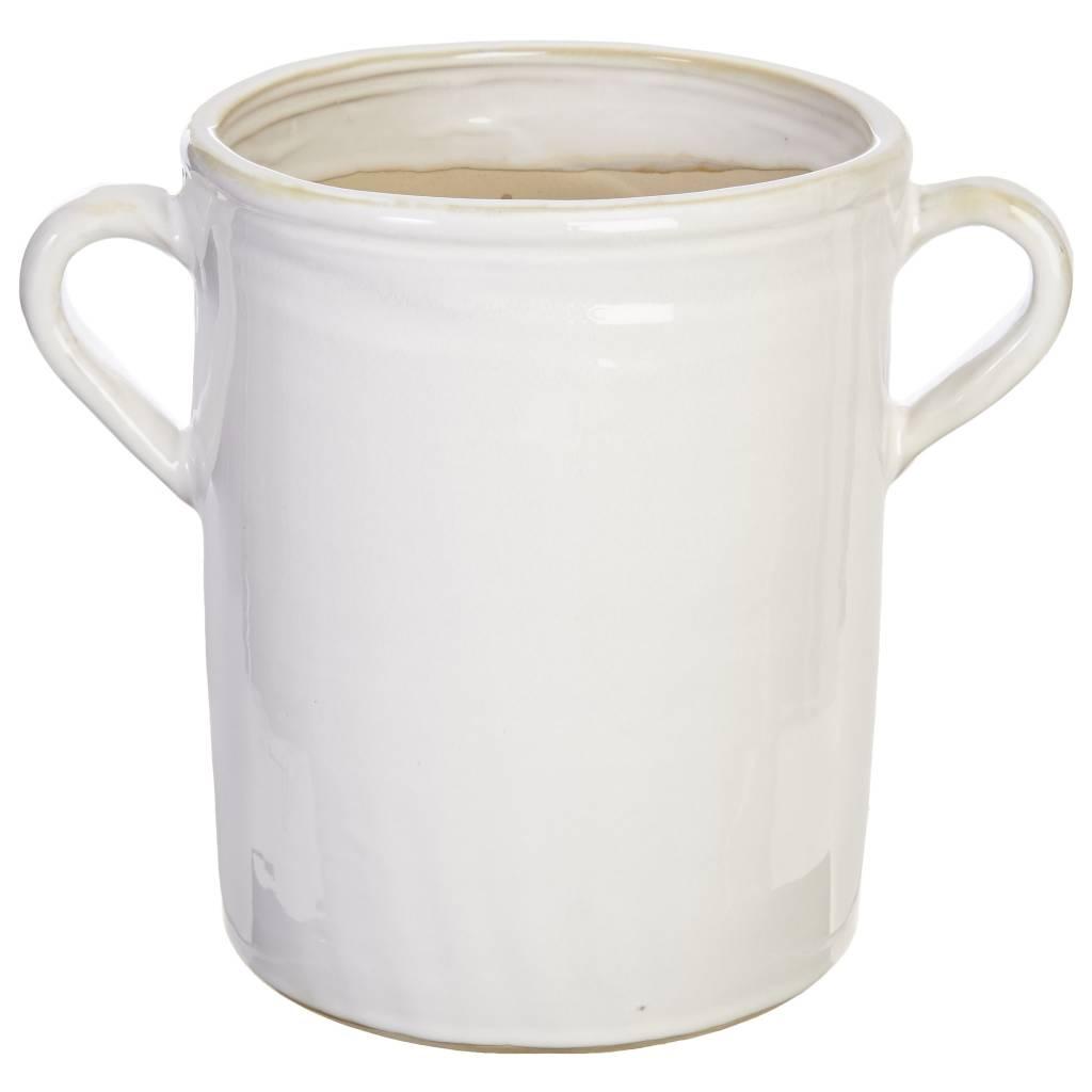 """11"""" White Ceramic Handled Container"""