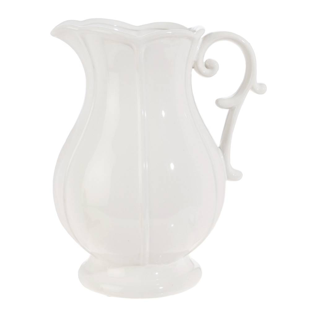 "8.5"" Elegant White Ceramic Pitcher"