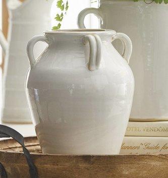 4-Handled White Ceramic Vase