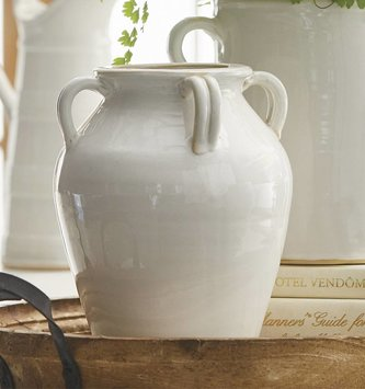 4-Handled White Ceramic Vase