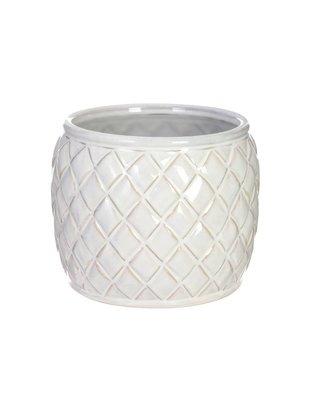 Round Ceramic Basket Weave Container