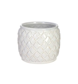 Round Ceramic Basket Weave Container