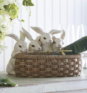 Baby Bunnies Holding Basket
