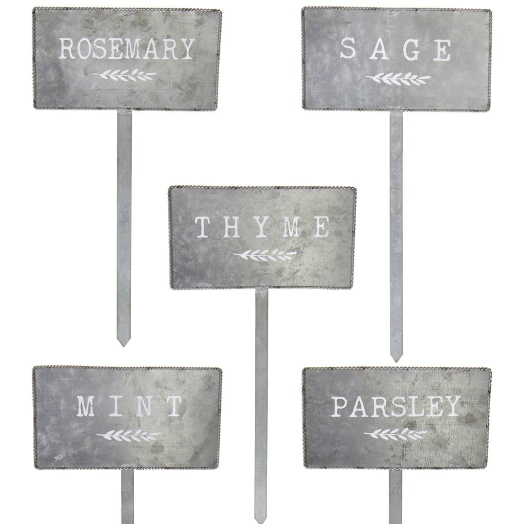 Set of 5 Galvanized Herb Markers