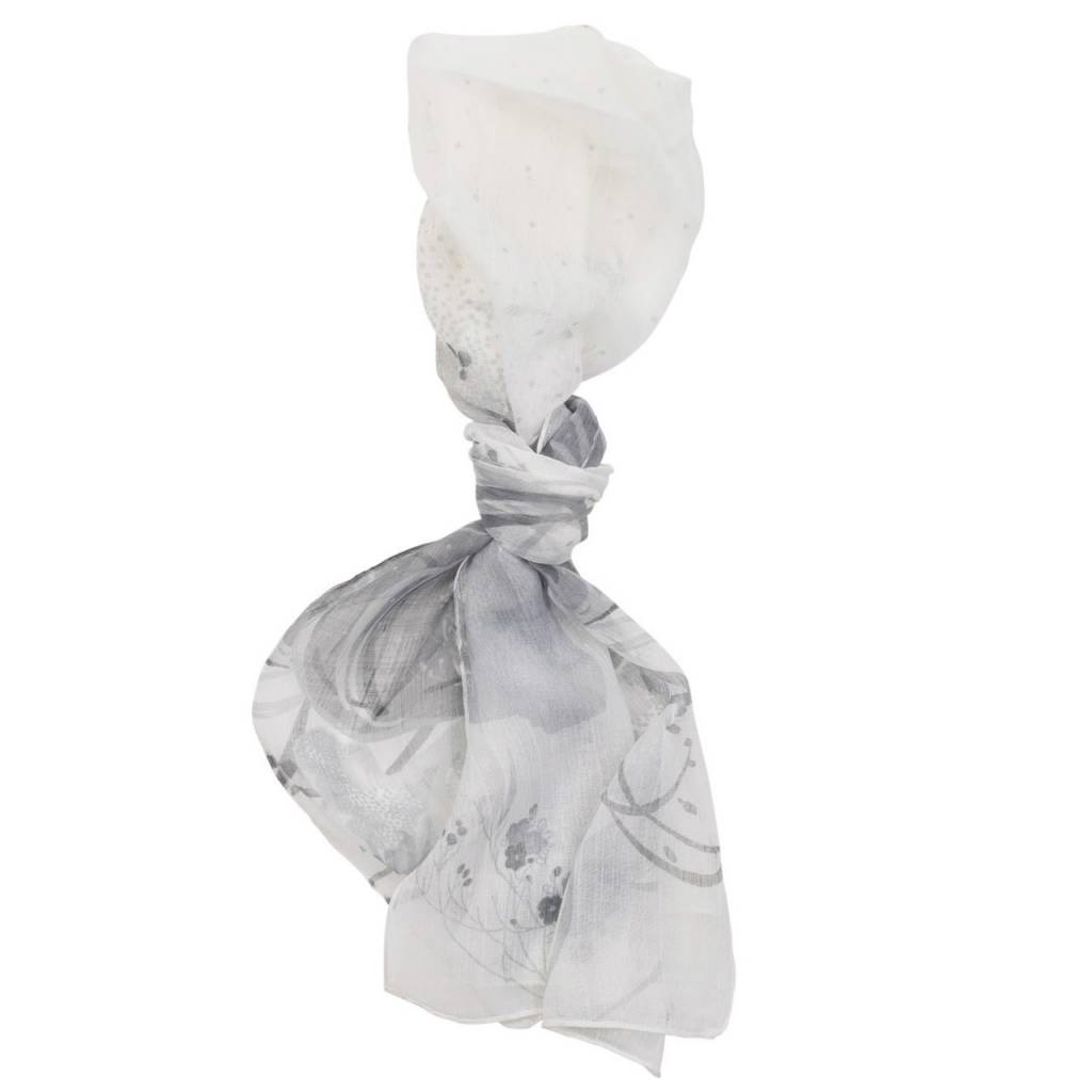Gray Rose Deep Floral Scarf