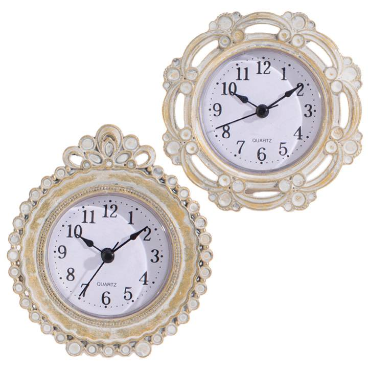 Whitewashed Mini Gold Clock (2 Styles)