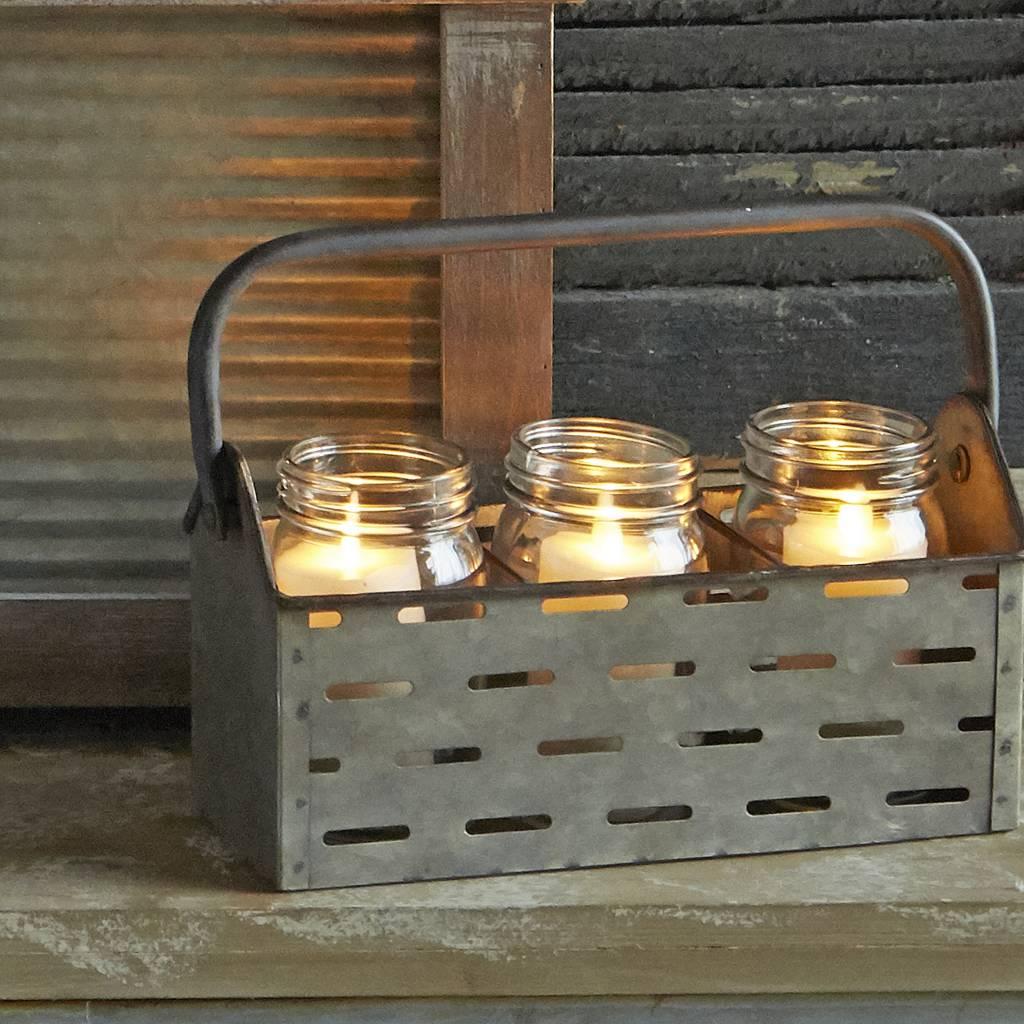 Triple Mason Jar Galvanized Caddy