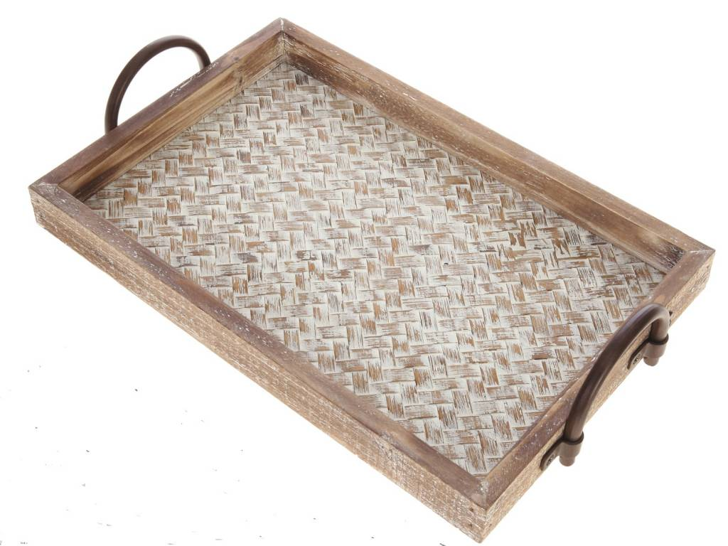 Basket Weave Wooden Tray (2 Sizes)