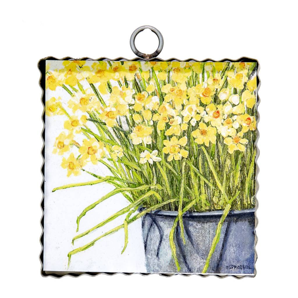 Bucket of Daffodils Small Painted Print