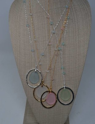 Oval Seaglass Necklace (4 Colors)