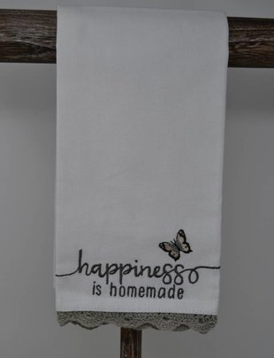 Happiness Is Homemade Embroidered Towel