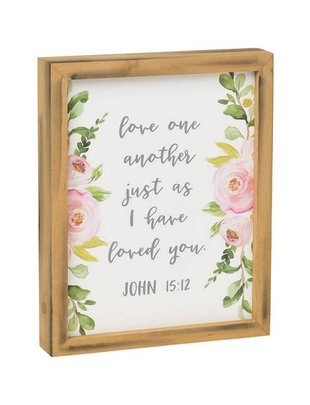 John 15:12 Floral Framed Sign