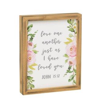 John 15:12 Floral Framed Sign