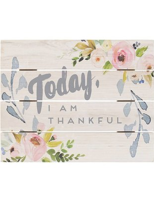 Today I am Thankful Floral Pallet Sign