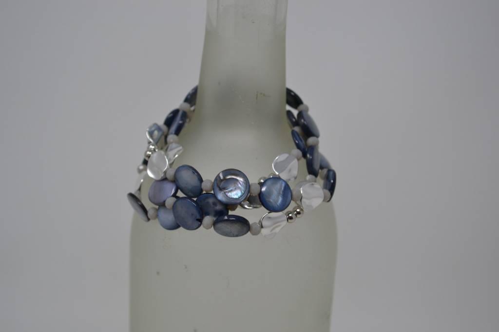 Silver & Abalone Stretch Bracelet Trio
