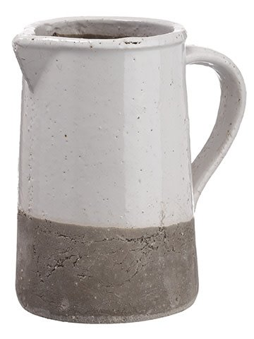Gray & White Stoneware Pitcher