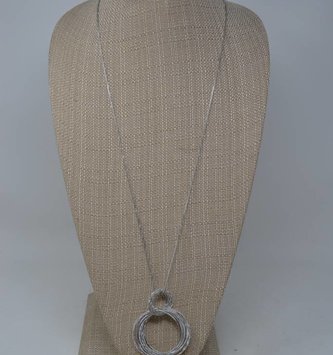 Silver Faceted Circles Necklace