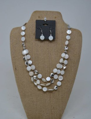 Cream & Silver Beaded Disc Necklace Set