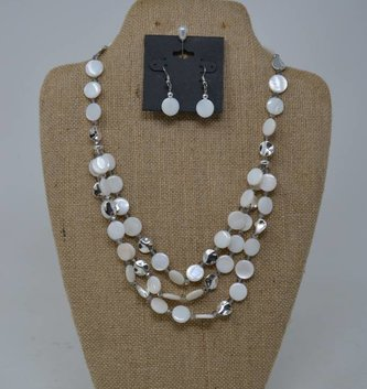Cream & Silver Beaded Disc Necklace Set
