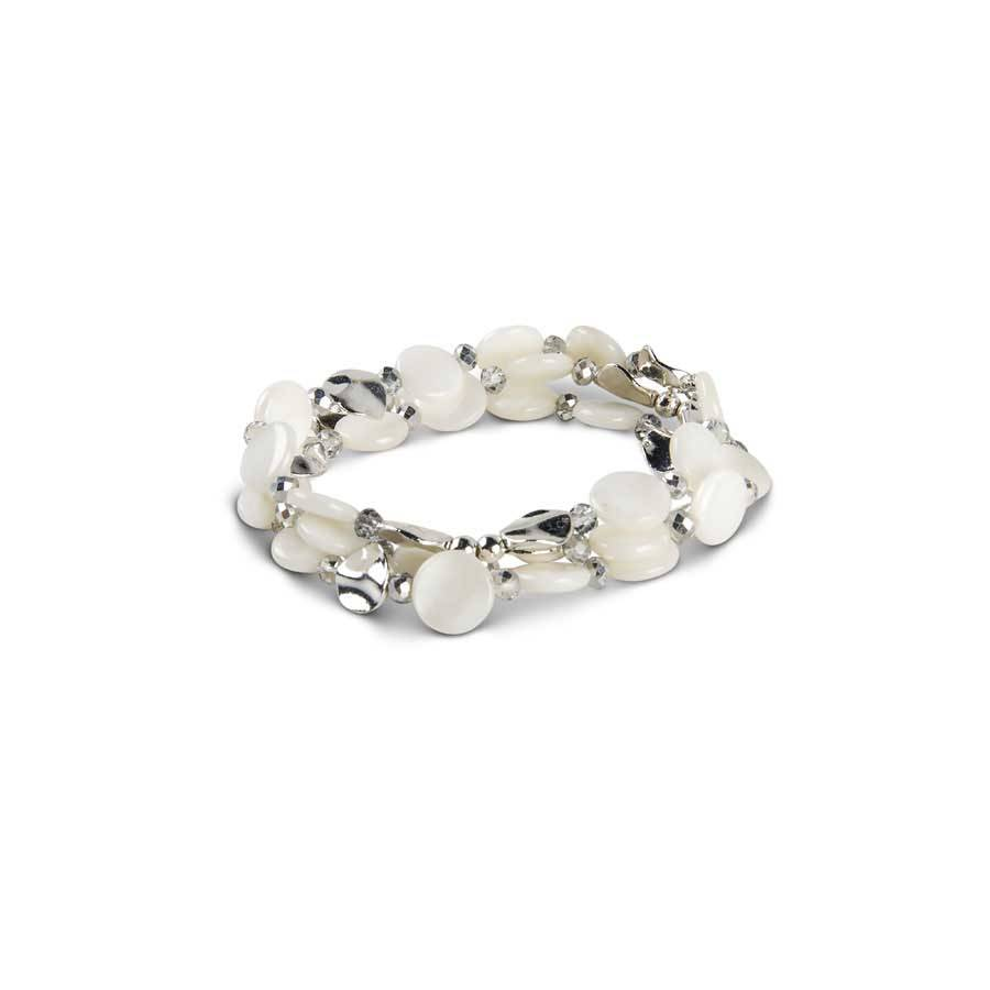 Cream & Silver Beaded Disc Stretch Bracelet Trio