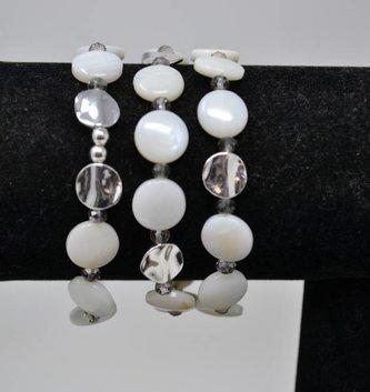 Cream & Silver Beaded Disc Stretch Bracelet Trio