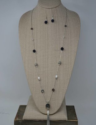 Midnight Beaded Tassel Necklace Set