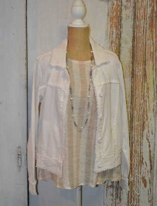 Distressed Trim Linen Jacket
