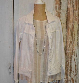 Distressed Trim Linen Jacket