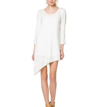 Asymmetrical Cream Knit Slip Extender Tunic