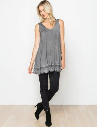 Charcoal Acid Wash Sleeveless Lace Extender