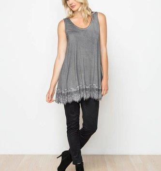 Charcoal Acid Wash Sleeveless Lace Extender