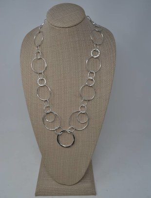 Multi-Ring Silver Necklace
