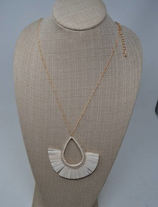 White Teardrop Necklace Set