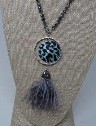 Black White Leopard Necklace
