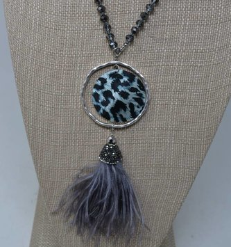 Black White Leopard Necklace