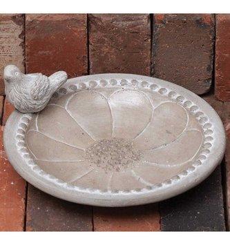 Round Concrete Floral Birdfeeder