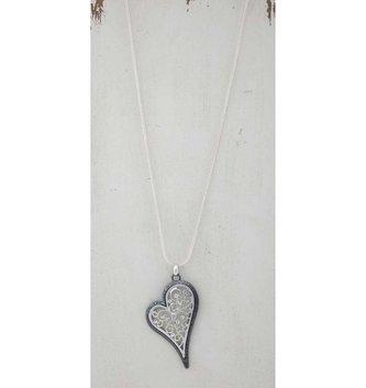 Silver Filigree Heart Necklace