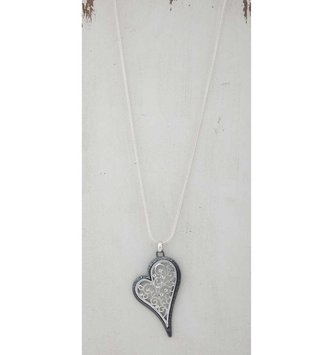 Silver Filigree Heart Necklace