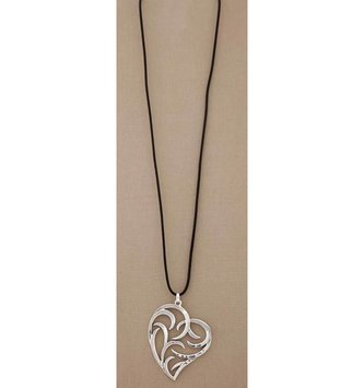 Swirl Heart Black Cord Necklace