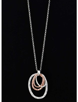 Mixed Metal Oval Necklace