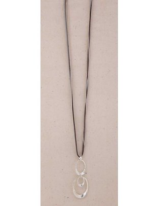 Leather & Chain Hoop Necklace