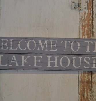Welcome To The Lake House Wooden Horizontal Sign