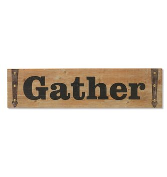 Rustic Wooden Gather Wall Plaque